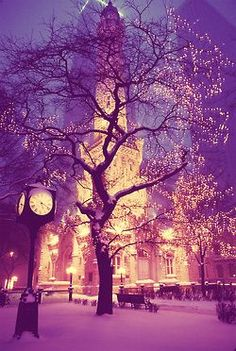 Snowy Night, Chicago, Illinois gotta love the beauty of the water tower ❤️ Beauty Around The World, Places Around The World, Around The Worlds, Beautiful World, Beautiful Images, Beautiful Sky, Beautiful Things, Places To Travel, Places To See