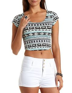 Geometric Print Crop Top with Caged Back #croptop