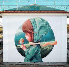 Street Art Graffiti Beautiful Street Art by Linus Lundin aka Yash - how to draw - Walk on the Wallsi Murals Street Art, 3d Street Art, Amazing Street Art, Art Mural, Street Art Graffiti, Street Artists, Amazing Art, Graffiti Artists, Urbane Kunst