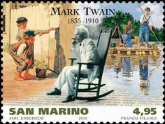 San Marino postage stamp of Mark Twain with scenes from Tom Sawyer and Huckleberry Finn Mark Twain, Hans Christian, Minstrel Show, Republic Of San Marino, Postage Stamp Art, Going Postal, Love Stamps, Mail Art, Stamp Collecting