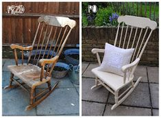 windsor rocking chair before and after Annie Sloan Old Ochre with clear wax Old Rocking Chairs, Painted Rocking Chairs, Rocking Chair Makeover, Diy Furniture Chair, Repurposed Furniture, Furniture Makeover, Upcycled Furniture Before And After, Redoing Furniture, Refurbished Furniture