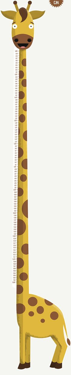 Giraffe height chart. Available in inches or centimeters.