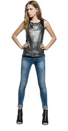 Snakeskin top with faux leather