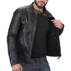 66a8aa82c9641 Bareskin black colour genuine leather slim fit classic jacket for men