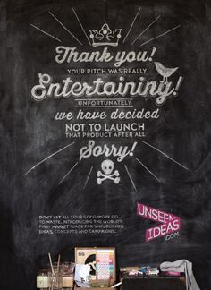 The first of a series of hand lettered adverts for Unseenideas.com for Lürzer's Archive.
