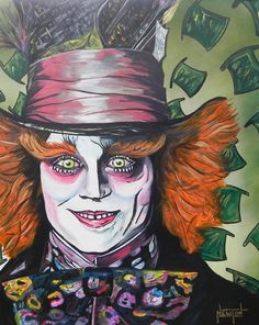 """""""The Mad Hatter"""" 24"""" x 30"""" Acrylic, oil, air brush on linen"""