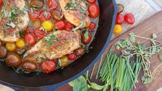 Clean Eating Recipes Balsamic Glazed Chicken Heirloom Tomatoes & Fresh Herbs http://cleanfoodcrush.com/balsamic-chicken-and-tomatoes/