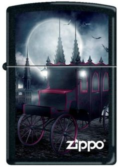 ZIPPO 218 Black Matte Goth Carriage and Bats * Read more details by clicking on the image. Cool Lighters, Zippo Lighter, Camping And Hiking, Outdoor Survival, Vintage Lighting, Bats, Fire, Design, Pocket