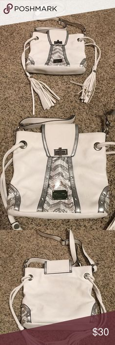 Miss me white over the shoulder purse Miss me purse. White with silver design Miss Me Bags Shoulder Bags