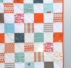 I used my last little bits of Heather Ross dog fabric for this one along with my last two scraps of that cute helicopter print… The back is the softest Robert Kaufman flannel ever and the sparse qu…