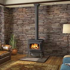 stone (faux?) behind wood stove