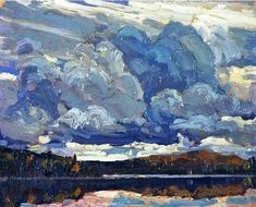 """Tom Thomson - Canada / Group of Seven - """"Grey Sky"""" 1914 Group Of Seven Art, Group Of Seven Paintings, Emily Carr, Abstract Landscape, Landscape Paintings, Abstract Art, Oil Paintings, Contemporary Landscape, Abstract Paintings"""
