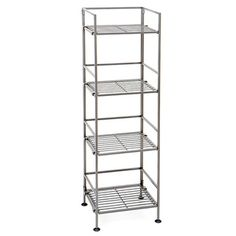 @Overstock.com - Seville Classics 4-Tier Square Wrought Iron Folding Shelf - Seville Classics 4-Tier Square Wrought Iron Folding Shelf is a contemporary shleving Storage Solution for your home. The shelf folds flat for easy storage.  The Snap-on feature allows you to connect multiple units horizontally for a complete custom fit.  http://www.overstock.com/Home-Garden/Seville-Classics-4-Tier-Square-Wrought-Iron-Folding-Shelf/8254451/product.html?CID=214117 $42.99