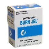 Water Jel Burn Jel, Pain Relief 25 ea $15.99  This work great on MILD BURNS. Like Sunburns, in fact, read its feedback, people praise how well it works on sunburns.  Disney uses it to treat guests at their parks who get sunburned.   This contains a pain relieving medicine called Lidocaine, 2% concentration.  This gives instant relief, for very serious burns, like 2nd degree blistering burns and worse, use the Burn Free below, see my photos of my fingers.