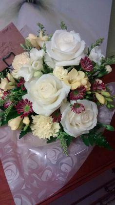 Rose freesia carnation white yellow