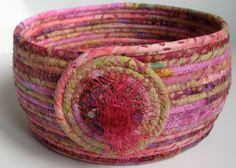 PINK Coiled Rope Basket Bowl....