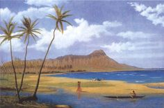 Diamond Head from Waikiki, oil on canvas painting by Enoch Wood Perry, Jr., c. 1865, Bernice P. Bishop Museum