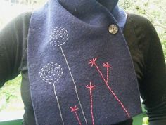 Embroidered Felted Wool Scarf
