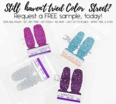 If you have not tried these nail polish strips yet Please request your FREE sample today! NO Commitment Toe Nail Color, Color Street Nails, Nail Colors, Street Image, Street Marketing, Guerrilla Marketing, Party Nails, Nail Polish Strips, Accent Nails