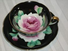 Vintage Black Teacup and Saucer HP Large Pink Rose Made in Japan