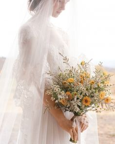 This rustic bouquet is wild yet elegant #marthastewartweddings