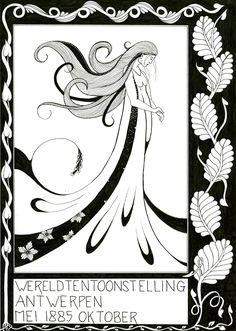 On Aubrey Beardsley inspired ink drawing art by Janet Plantinga