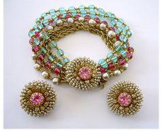 HASKELL Pink & Aqua Art Glass & Baroque Pearl Floral Demi