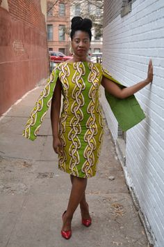 African Cape Dress African Print African clothing by BurgundybyPK