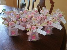 """Sweet pea hand sanitizer baby shower favors, with the saying """" A little sweet pea is on her way, thank you for coming and sharing this day!"""""""