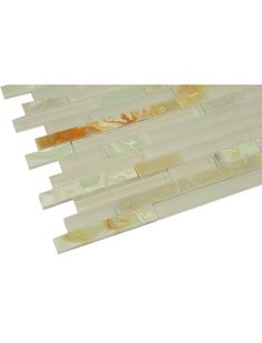 Random Strip Beige Glass & Green Onyx Mosaic Tile. #Green_Onyx_Mosaic_Tile #Glass_Mosaic_Tiles #Random_Strip