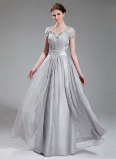 Gorgeous V-neck with Lace&Beaded Floor Length Chiffon Charmeuse Evening Dress Silver,$209.09 with free shipping
