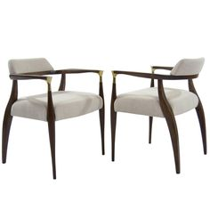 Danish Modern Brass-Accented Walnut Armchairs For Sale