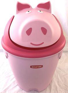 Curver Pink Pig Trash Can Waste Bin Plastic Animal Small Swing Top Lid Kids  | eBay
