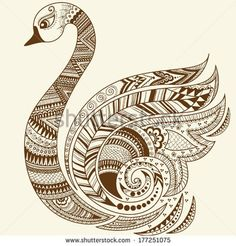 Vector abstract floral elements in Indian mehndi style Abstract swan henna floral vector illustration Design element
