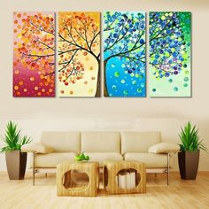 Hot Sale Unframed Spray Paintings 4 Panels Pictures Four Seasons Trees Wall Art Oil Painting On Canvas Office Bar Ornament