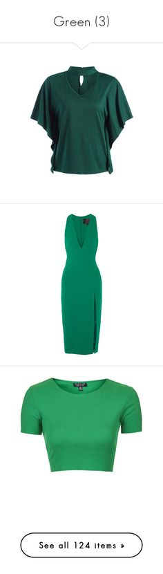 """Green (3)"" by glitterals ❤ liked on Polyvore featuring tops, t-shirts, green top, green tee, v-neck tee, green v neck t shirt, vneck t shirts, dresses, emerald and stretch dresses"