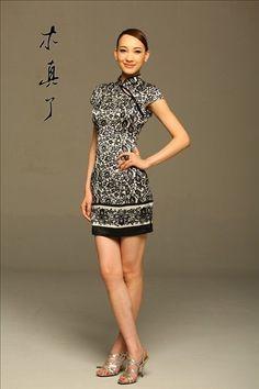 Blue and White. Silk Slim Cheongsam Dresses