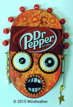 "Outsider Folk Art, ""Dr. Peper #2"", Tribal Wood Wall Hanging, Comical Soda Can Art, Bottle Cap and Bead Wall Sculpture by Windwalker Art"