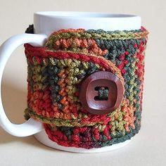 Mug Wrap - Coffee Mug Cozy - Coffee Lover's Gift - Tea Lover's Gift- Winter Decor Crochet Crafts, Yarn Crafts, Crochet Projects, Crochet Designs, Crochet Patterns, Mug Cozy Pattern, Free Pattern, Crochet Coffee Cozy, Coffee Sleeve