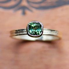 Green tourmaline ring in recycled 14k yellow gold - emerald green - cushion solitaire - wheat braid - ready to ship - size 7.25