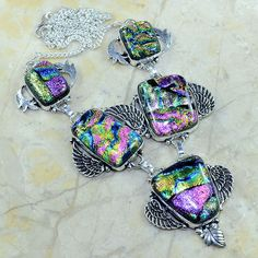 """Handmade Sparkling Dichroic Glass 925 Sterling Silver Necklace 20"""" #C51020"""