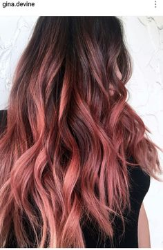 Peach rosegold balayage hair