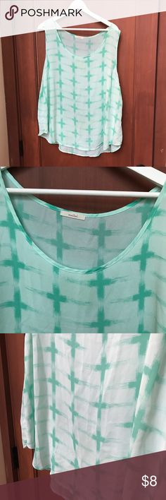 Plus Size Green Patterned Sheer Top Barely worn! Tops Blouses