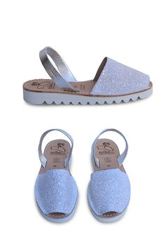 Inspired by a snowflake, our MIBO avarcas menorquinas in snow glitter features a simplistic and clean design on a small ultralight wedge rubber sole of aprox 1 inch. Stay comfy while keeping things st