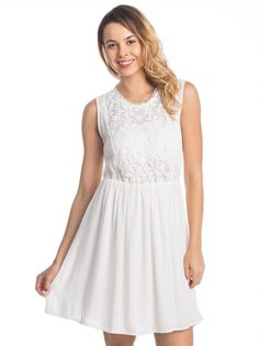 Ženska Čipkasta Obleka COLLEZIONE #Ženska_Obleka #summer_dress #white_dress #lace_details #white_fashion #summer_outfit #everyday_style