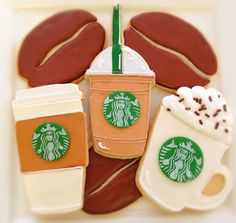 Hey, I found this really awesome Etsy listing at… Starbucks Cookies, Starbucks Crafts, Coffee Cookies, Iced Cookies, Cute Cookies, Cupcake Cookies, Sugar Cookies, Starbucks Drinks, Starbucks Coffee