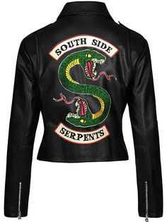 Details about riverdale southside serpents gang jacket jughead jones cole sprouse biker jacket Black Leather Biker Jacket, Faux Leather Jackets, Motorcycle Leather, Motorcycle Jackets, Motorcycle Gear, Riverdale Shirts, Riverdale Fashion, Riverdale Cole Sprouse, Jugend Mode Outfits