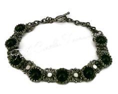 """Handmade black onyx bracelet, gift for her, gift for teen, elegant, lovely, gunmetal, original design, ornate, 7 3/4"""" Black onyx bracelet"""