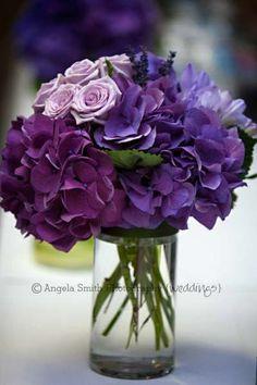 purple hydrangea, lavender, wedding table center  www.BellaBloomFlorals.com