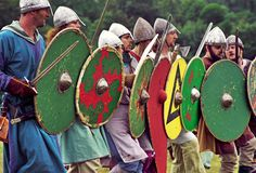 The Saxon 'shield wall' at the annual Battle of Hastings re-enactment at Battle Abbey
